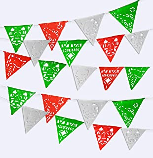 115 ft long Mexican 75 Flag pennant banner.5 Pack Banderines,Plastic Papel Picado for fiesta party decorations supplies multicolor, cinco de mayo celebrations, Grand Opening