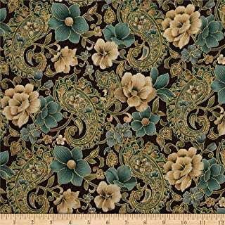 Fabric Traditions Marrakech Metallic Paisley Floral Brown Fabric By The Yard
