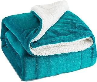 Bedsure Sherpa Fleece Blanket Queen Size Teal Plush Throw Blanket Fuzzy Soft Blanket Microfiber