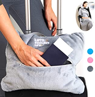 4 in 1 Travel Blanket - Lightweight, Warm and Portable. The Latest Small Compact Airplane Blankets & Pillow Set. Made of Warm Plush, 2 Practical Mesh Pockets with Fashionable Carry & Luggage Straps, Plush Polyester, Grey, Large