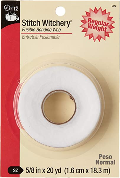 Dritz 222 STITCH WITCHERY FUSIBLE BONDING WEB WHITE REG WGHT 20YD 5 8 Inch X 20 Yards