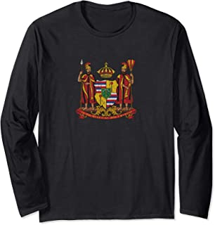 Hawaii Monarchy Coat of Arms - Vintage Distressed Long Sleeve T-Shirt
