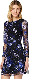 TRUTH & FABLE Women's Floral Embroidered Skater Party Dress, Multicolour
