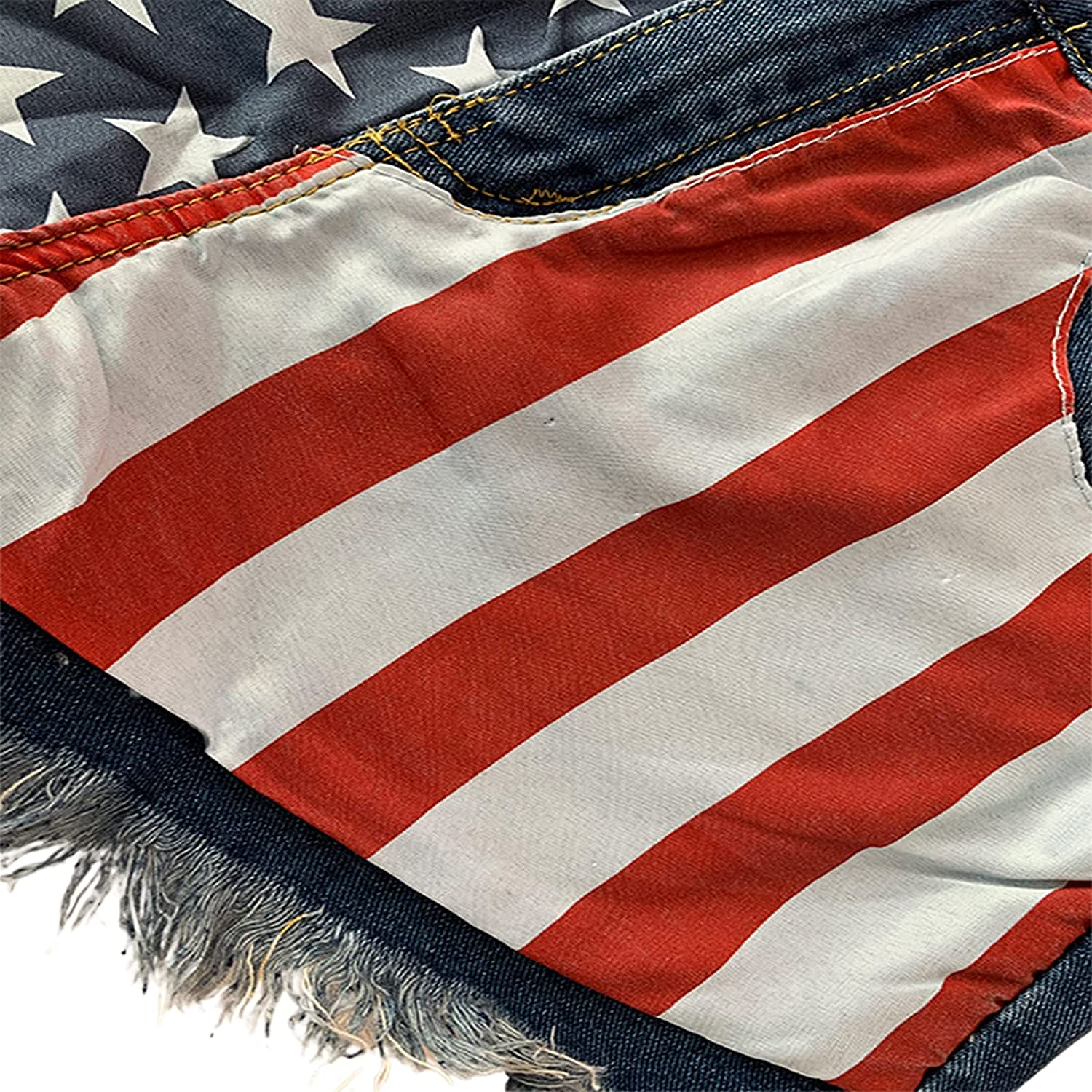 Women's Frayed Distressed Jeans Raw Ripped Denim Shorts American Flag Star Print Hot Shorts Comfy Stretchy