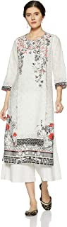 BIBA Women's White & Black Straight Cotton Kurta