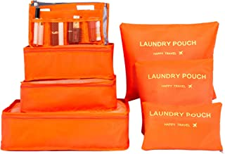 Jollyfit 7 Set Travel Packing Cubes - Luggage Organizers Accessories with Toiletry Bag Cosmetic Make Up Organizer (Orange)