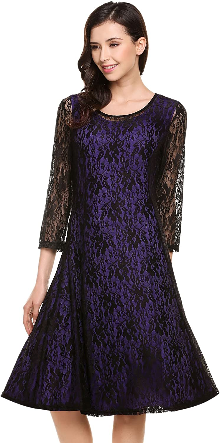 Meaneor Women's Plus Round Neck 3 4 Sleeve Pleated Lace Midi Dress Size