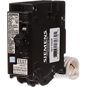 Siemens Qa115afcwg 15 Amp Combination Arc Fault Circuit Interrupter Afci For Use On Wire Guide Series Of Load Centers Amazon Com