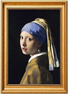 Eliteart-Girl with a Pearl Earring by Johannes Vermeer Giclee Framed Art Canvas Prints-Framed Size:19 1/2