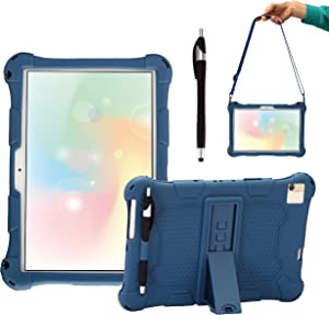 AKNICI Silicone Case Cover for Dragon Touch Notepad 102 Tablet/Pritom Tronpad L10/YESTEL T5 10/TECLAST P20HD M40/Blackview Tab8/WINNOVO P20/IBBWB 10/AOYODKG A39, Shoulder Strap and Stylus - Dark Blue