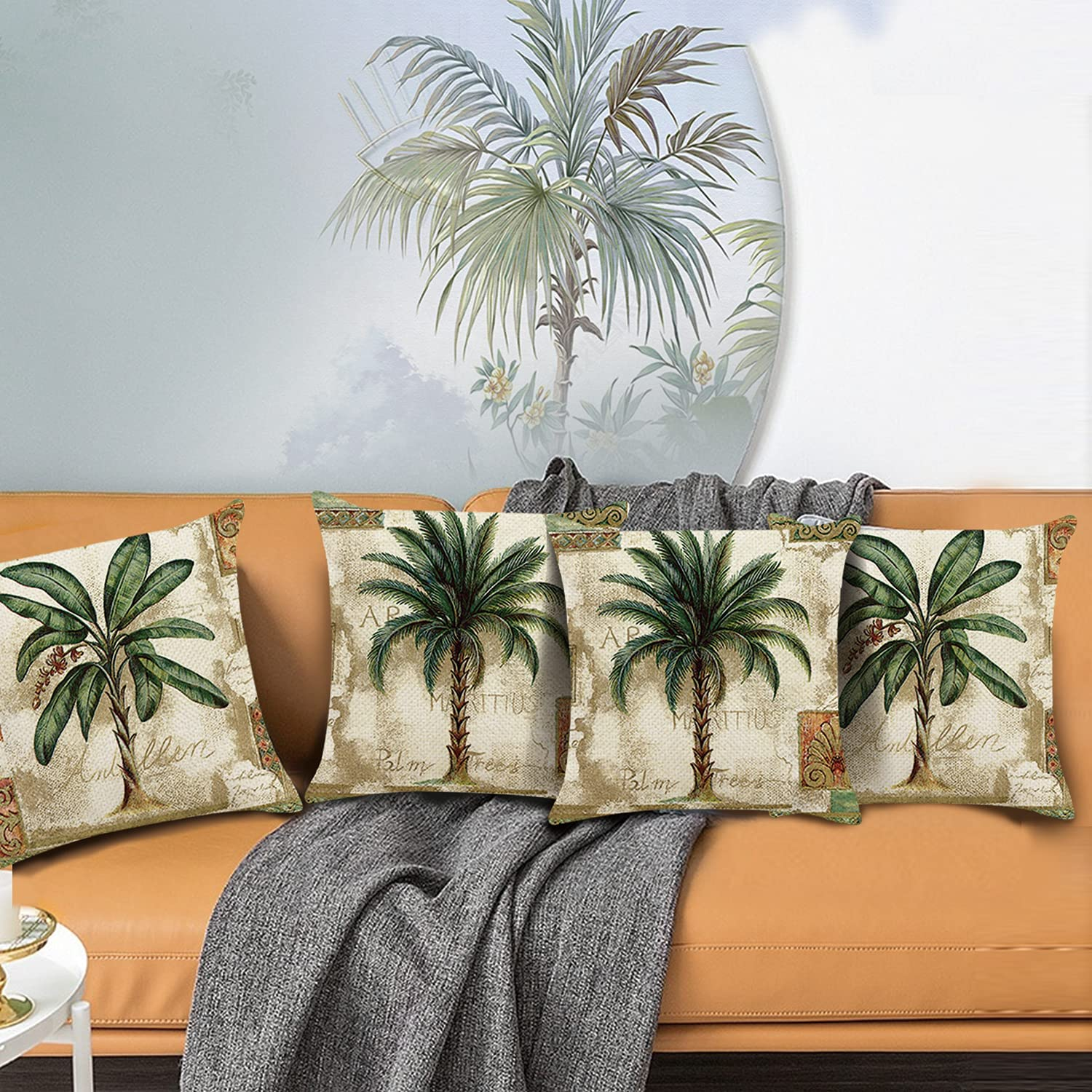 Bonhause Tropical Palm Tree Throw Pillow Covers 20 x 20 Inch Set of 20  Vintage Green Plant Decorative Throw Pillow Cases Polyester Linen Cushion  Covers ...