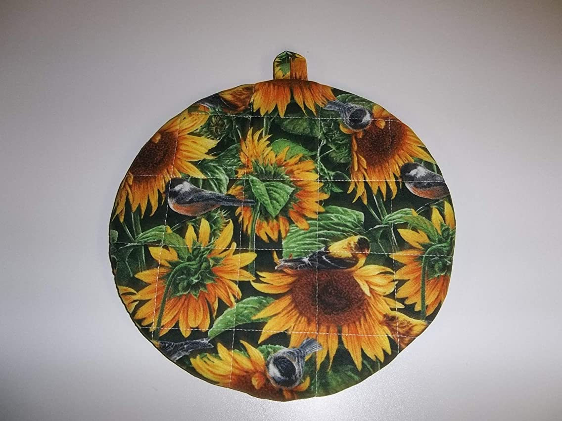 Pot Holders Heat Resistant Sunflowers and Birds Potholders Handmade Double Insulated Quilted Hot Pads Trivets 9 inches Round