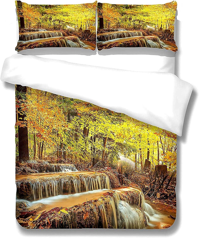 depot LUOWAN Surprise price Duvet Cover Set Autumn Waterfall Woods Scenery De Print