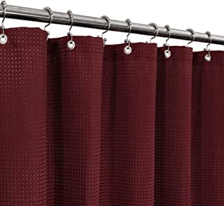 Waffle Weave Shower Curtain Hotel Luxury Spa, 230 GSM Heavy Duty Fabric & No Blowing, Water Repellent and Machine Washable...
