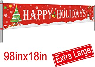 Large Happy Holidays Banner Outdoor | Red Christmas Banner Decorations | Xmas Party Supplies Outdoor & Indoor Decor (8.2 x 1.5 FT)