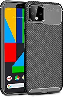Olixar for Google Pixel 4 Carbon Fiber Case - Slim TPU Cover - Thin Protective Cover - Shock Protection - Enhanced Grip - Tough, Slim & Lightweight - Wireless Charging Compatible - Black