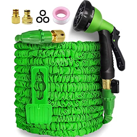 Garden Hose,Hose Pipe Expandable Hose 50FT Heavy Duty Flexible Leakproof Hose High-Pressure Water Spray Nozzle & Bag & Plastic Holder.No Kink Tangle-Free Water Hose (Green, 50FT)