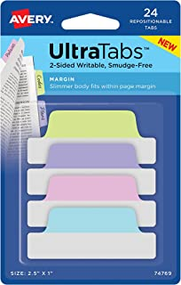 Avery 74769 Ultra Tabs, 2.5 x 1 Inch, 2-Side Writable, Pastel Blue/Pink/Purple/Green, 24 Repositionable Margin Tabs