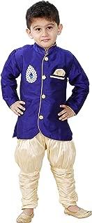JBN Creation Boys' Blue Cotton Silk Kurta Pyjama Set(VASBSW095)