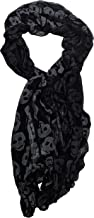 Skull Printed Neck Scarf for Women in Black and White
