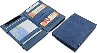 Garzini Thin Minimalist Genuine Leather Magic Wallet RFID Blocking Card Sleeves with Pull-Tab and Coin Wallet for Men