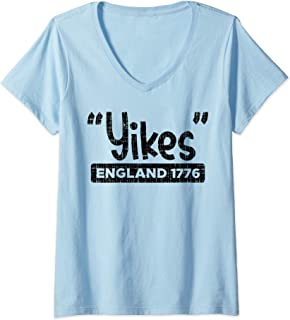 Womens Yikes England 1776 Funny 4th Of July USA Pride Freedom Gift V-Neck T-Shirt