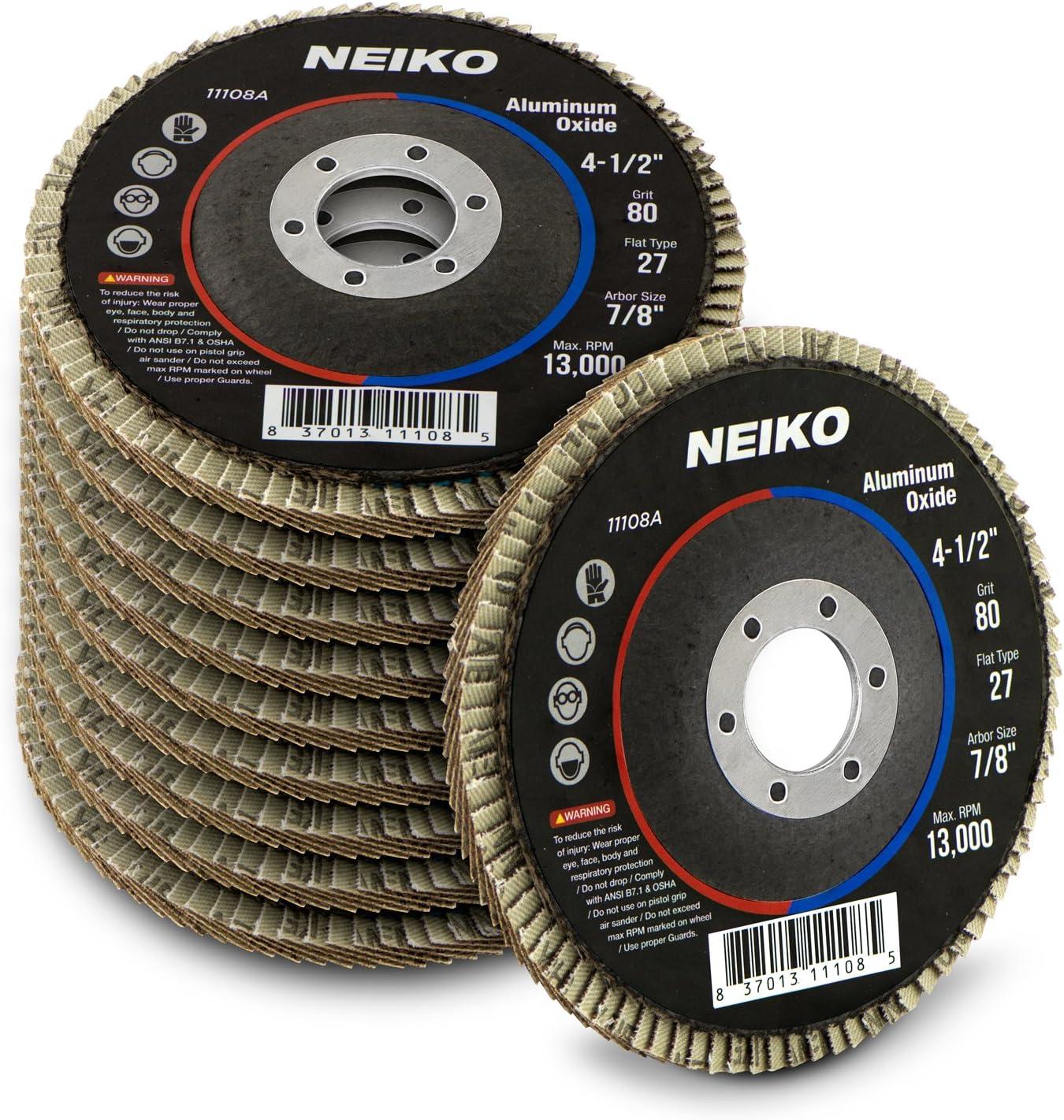 Neiko 11108A Aluminum Oxide Flap Disc | 4.5&Quot; X 7/8-Inch, 80 Grit, Flat Type #27-10 Pack, Original Version