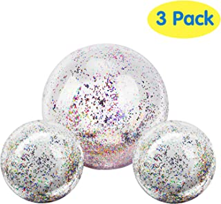 MoKo Inflatable Beach Balls, (3 Pack) Glitter Pool Ball Floatable Swimming Balls Confetti Ball for Water Fun Play Summer Beach, Pool and Party Favor for Adults Kids -