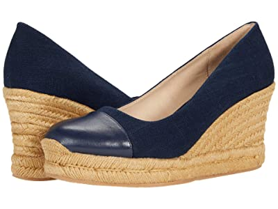 Jack Rogers Palmer Cap Closed Toe Wedge (Mid Navy/Mid Navy) Women