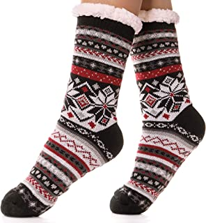 EBMORE Womens Fuzzy Slipper Socks Fleece Lined Warm Christmas Cozy Winter Socks with Grippers