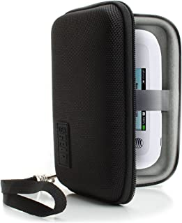 USA Gear Portable WiFi Hotspot for Travel Carrying Case with Wrist Strap - Compatible with 4G LTE Wi-Fi Mobile Hotspots from Verizon, Huawei, Velocity, Skyroam Solis, GlocalMe, Netgear - Black