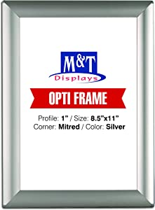 M&T Displays Opti 8.5x11 Picture Photo Frame for Table and Wall, Snap Frame, 1 inch, Front Loading with Back Support - Silver