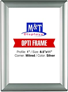 M&T Displays 8.5x11 Picture Photo Frame for Table and Wall, Snap Frame, 1 inch, Front Loading with Back Support - Silver