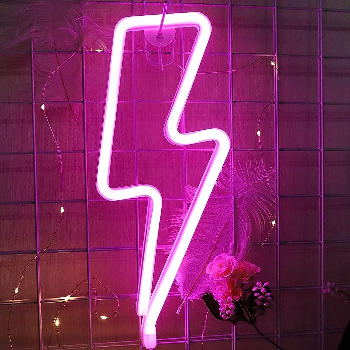 Neon Lights,Pink Lightning Bolt Neon Signs for Pink Room Decor USB/Battery Powered Led Light Sign for Ramadan Room Decoration,Led Signs for Aestethic Stuff,Bedroom,Halloween