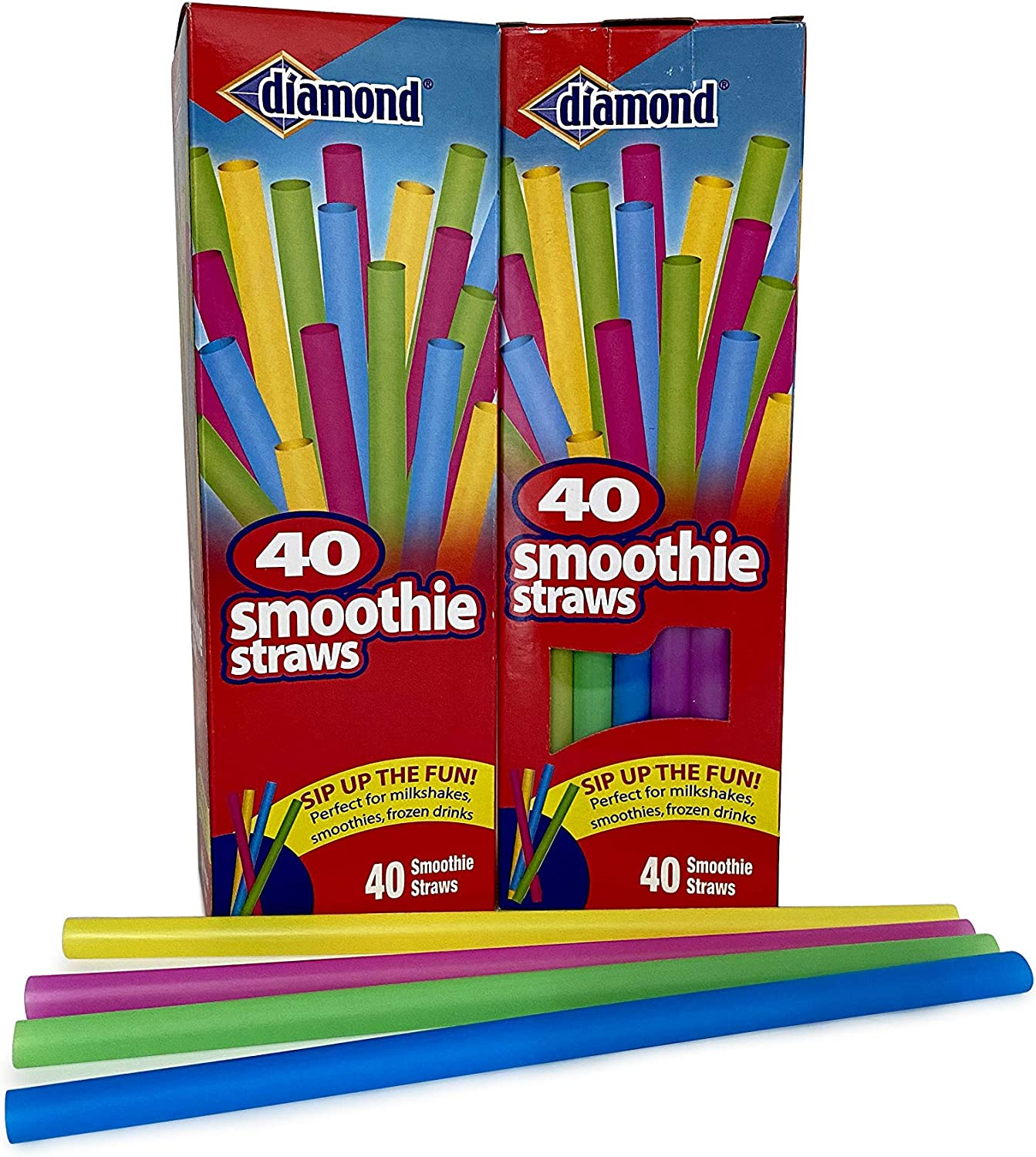 Diamond Neon Max 49% OFF Smoothie Straws 40 of Pack 2 Cheap Assorted Ct
