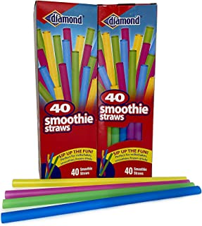 Diamond Neon Smoothie Straws, 40 Ct Assorted (Pack of 2)