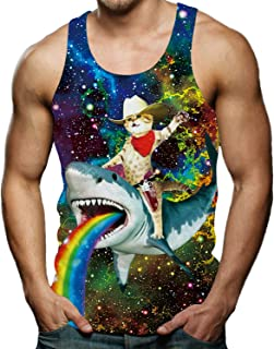 Men's Funny Tank Tops 3D Printed Cool Graphic Sleeveless Cool Gym Workout T-Shirt
