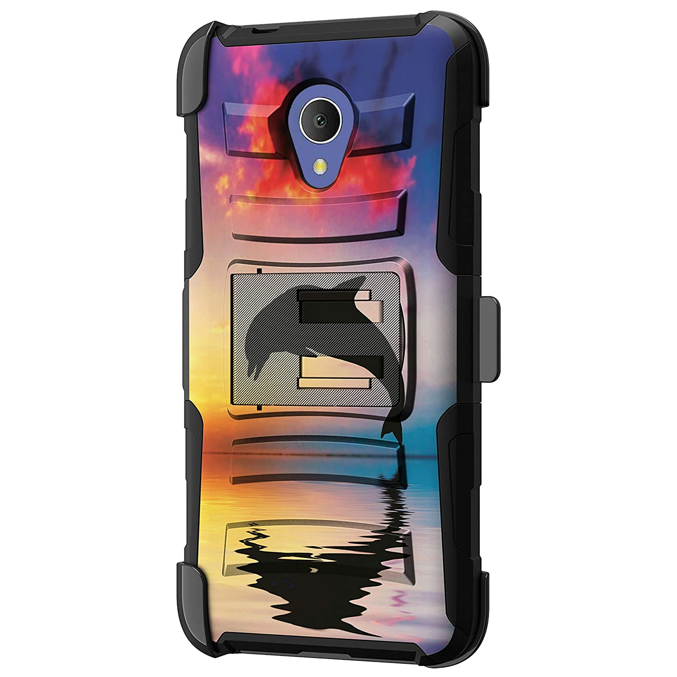 TurtleArmor | Compatible with Alcatel 1X Evolve Case | IdealXtra Case | TCL LX Case [Hyper Shock] Hybrid Reinforced Dual Layer Case Belt Clip Holster Stand Sea Ocean - Dolphin Jump