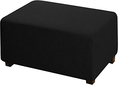 1 Piece Form Fit Storage Ottoman Protect Covers for Living Room Footstool Footrest Covers Stretch Ottoman Slipcovers Removable Footstool Covers, Machine Washable - Black