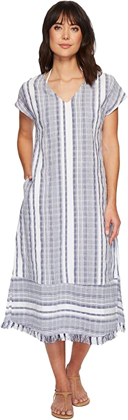 Yarn Dye Stripe Tea-Length Dress Cover-Up
