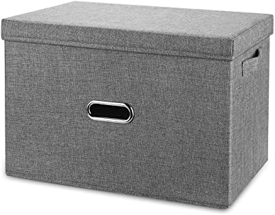Valease Large Linen Collapsible Storage Bins with Removable Lids and Handles, Washable Storage Box Containers Baskets Cube with Cover for Bedroom,Closet,Office,Living Room,Nursery (Grey, Large)