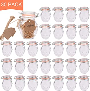 Small Spice Jars,Encheng Glass Jars With Airtight Lids 4 oz And Leak Proof Rubber Gasket,Small Mason Jars With Hinged Lids For Kitchen,Mini Storage Containers With Twine And Tags Labeling 30 Pack …