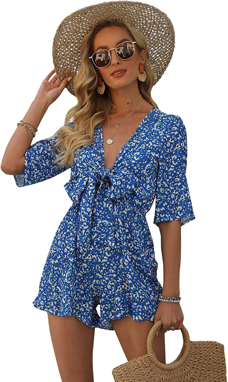 Relipop Women's Jumpsuit Floral Print V Neck Tie Bust Short Sleeve Elastic Wasit Short Casual Romper