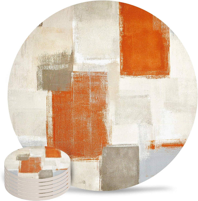 Bargain sale Round Coasters Regular discount Absorbent 4 Inch Ceramic Ki for Bar Home