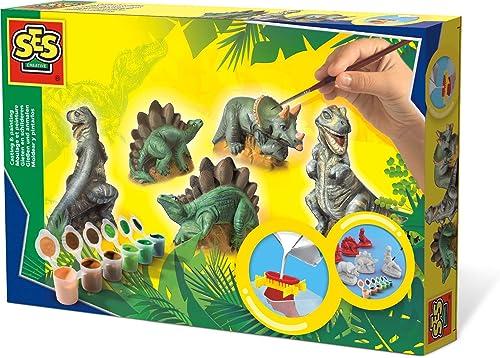 Ses - 01406 - Kit de Loisir Créatif - Moulage et Peinture - Dinosaures