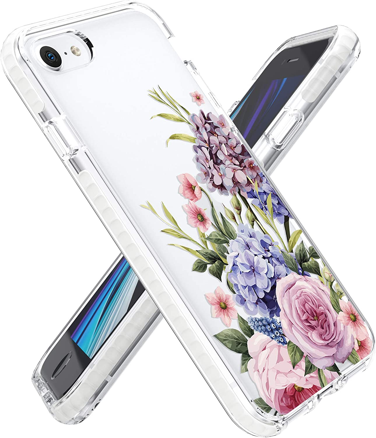 Rose Lake Flower Phone Case for iPhone SE 2020 iPhone 8 iPhone 7 Cover, Hydrangea Floral Pattern Girls Women Clear TPU Shockproof Bumper Back Case 4.7-inch