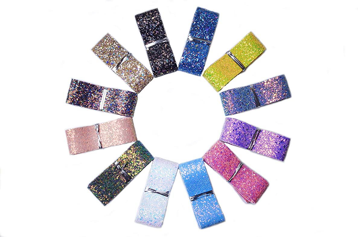 Bobeey 12 Yards Mix Colors 38mm Width Sparking Ribbons Glitter Bows for Hair Decoration,Glitter Ribbons Christmas Party Decoration,Glitter Convas Back Ribbons BBGR001-12Colors(A)