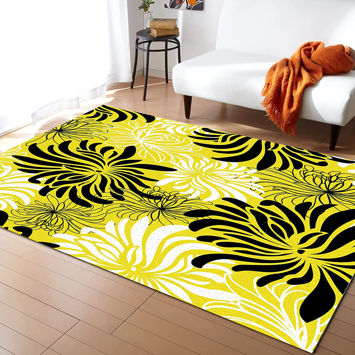 excellence KITHOME Contemporary Non-Slip Area free shipping Yellow Chrysanthemum Blac Rug