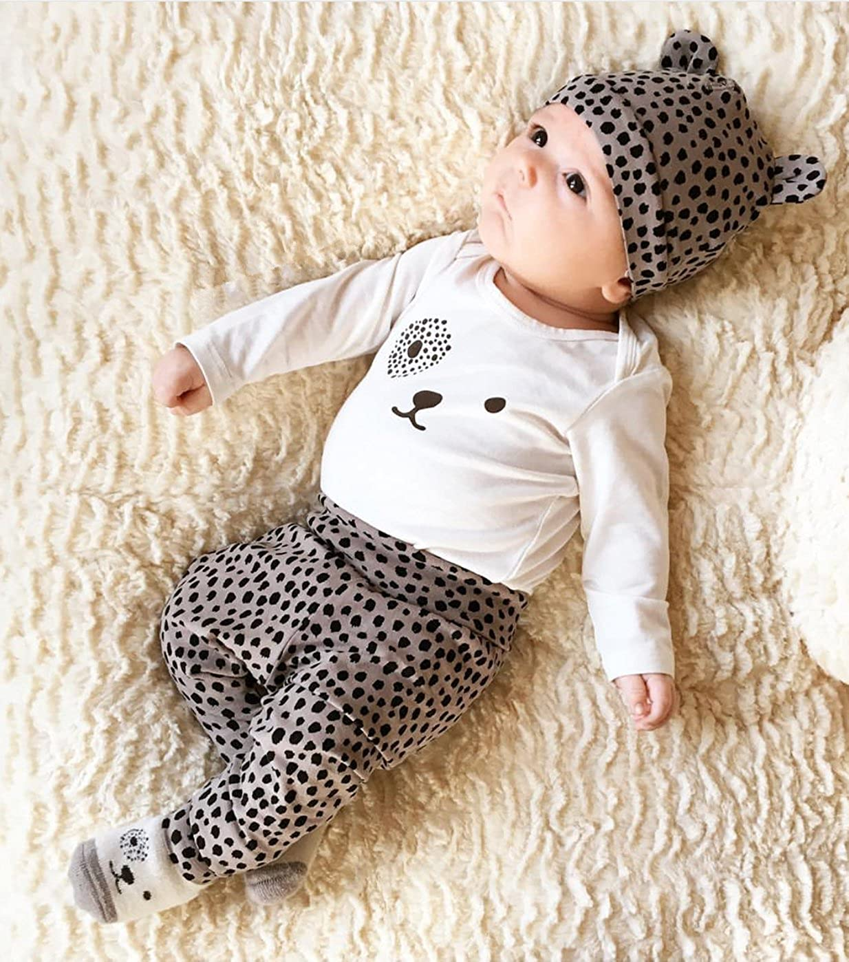 Baby Boys Girls Clothes Long Sleeve Leopard T-Shirt Pants Hat Outfits Set