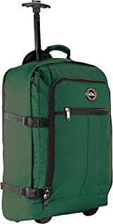 Cabin Max® Lyon Carry On Bag with Wheels - Very Lightweight at Just 3.7lbs 44L - Carry On Rolling Backpack with Wheels - Perfect Size for Many Major Airlines! 56x36x23cm (Hunter Green)